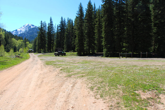 Large area at the end of Forest Road 281 and start of South Indian Creek Trail.