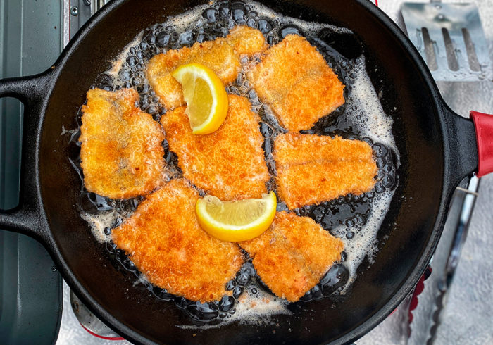 Fish fry while camping on Forest Road 281 in Idaho.
