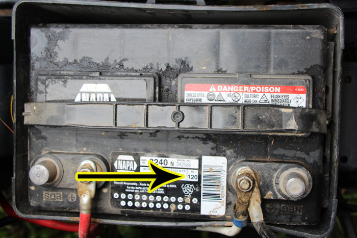 Calculating how long this RV battery can run a furnace using the RC number located on the top