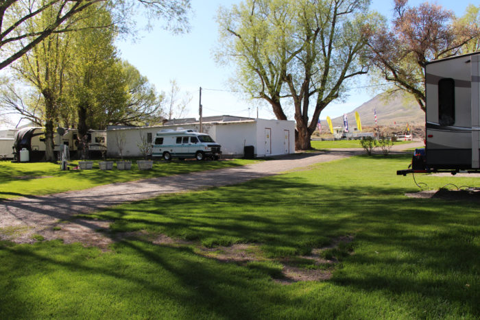 Building with bathrooms, showers, and laundry at Welcome Station RV Park in Nevada.