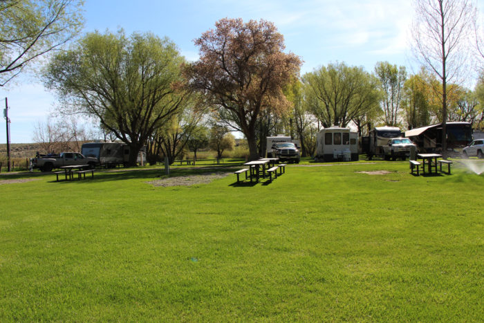 Pull-through and back in RV sites at Welcome Station RV Park near Wells Nevada.