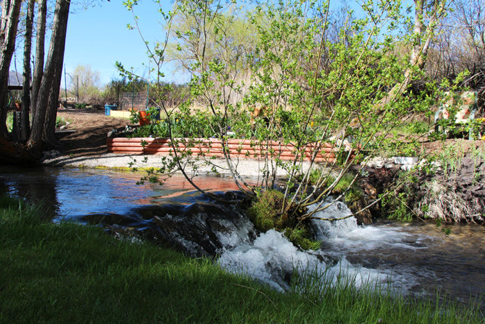 Small waterfall at Welcome Station RV Park near Wells Nevada.