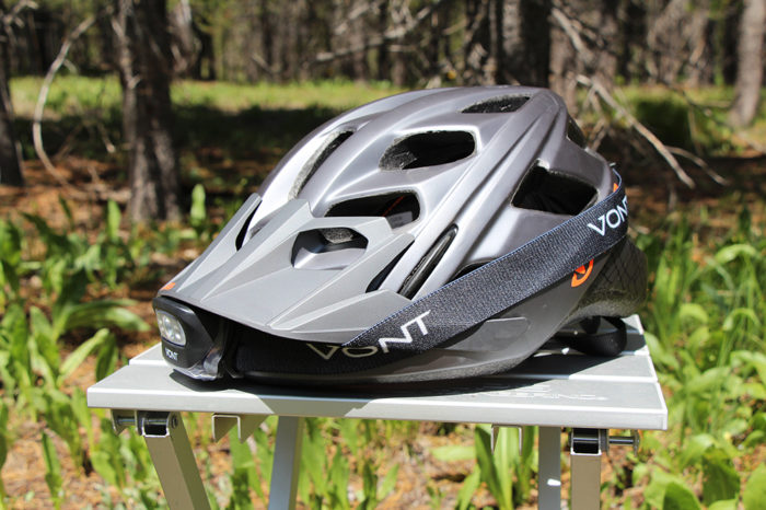 Vont Spark LED headlamp on an XL mountain biking helmet.