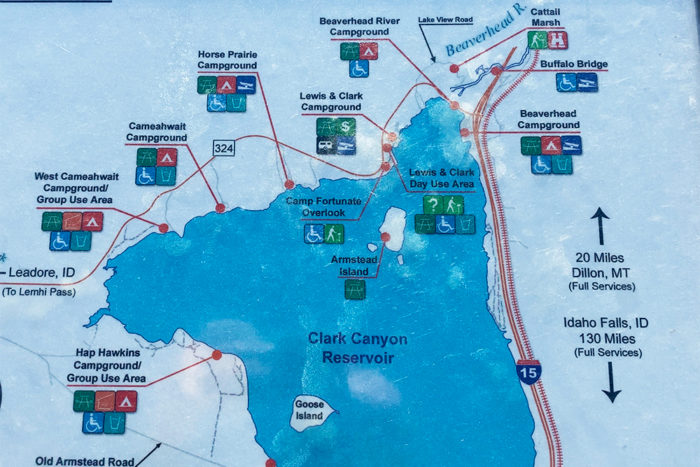 Map of all the campgrounds around Clark Canyon Reservoir as well as the services provided.