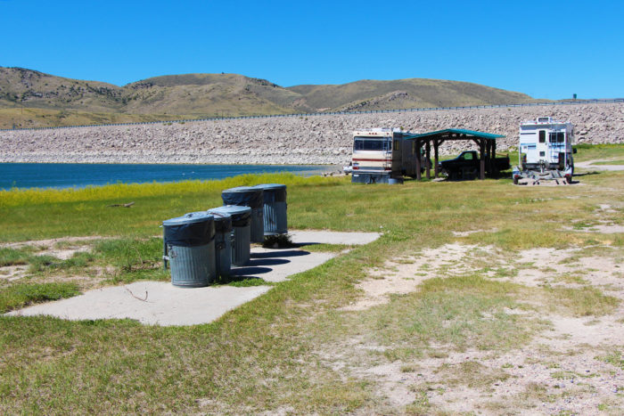 There are multple garbage cans to throw away trash scattered throughout Beaverhead Campground.