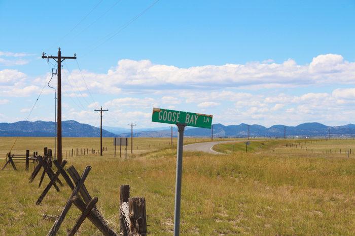 Goose Bay Lane road sign.