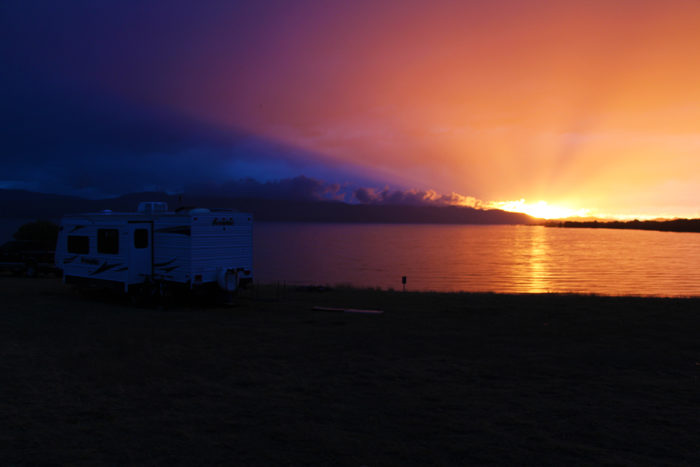 Sunset over Canyon Ferry Lake, Montana from Goose Bay BLM.