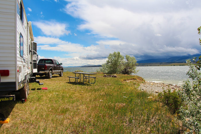 Our campsite on the second loop at Goose Bay Dispersed on Canyon Ferry Lake, MT.