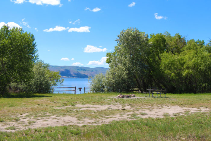 Campsite at Goose Bay Montana with access to the lake on the first loop.