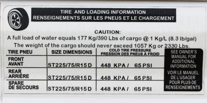 Trailer tire size dimensions guide on side of a travel trailer.