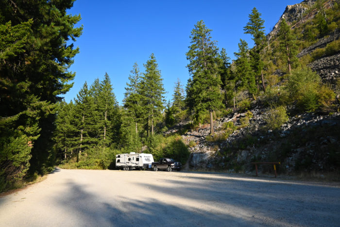 Camping in the parking lot outside of Blodgett Campground near Hamilton Montana.