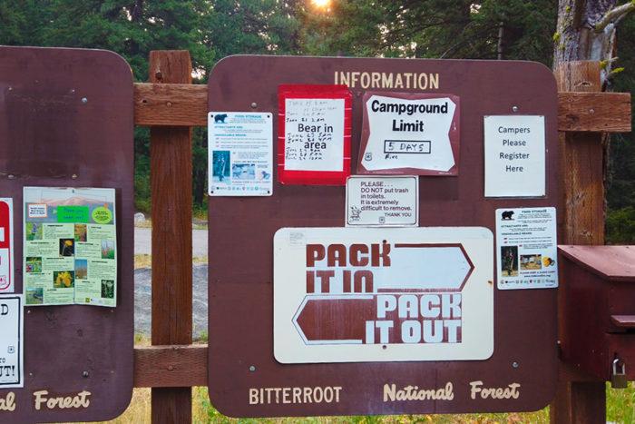 Camping info sign at Blodgett Campground near Hamilton, Montana.