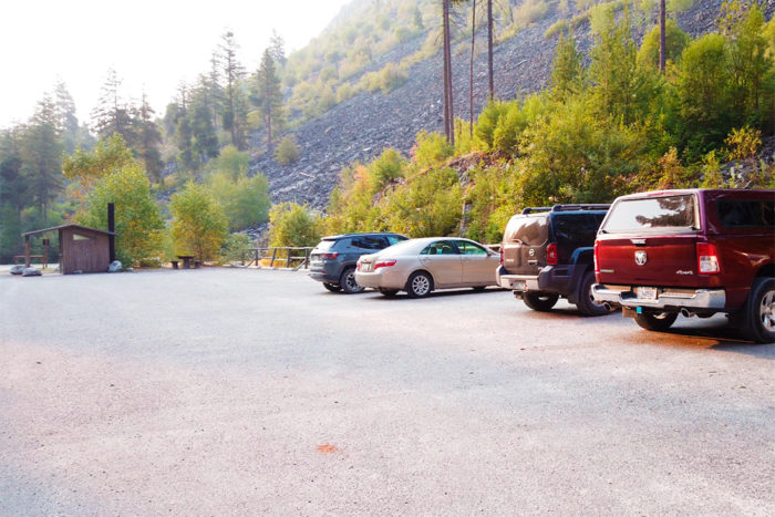 The paved part of the parking lot near Blodgett Canyon Trailhead. You are asked to park trailer in the non paved area.