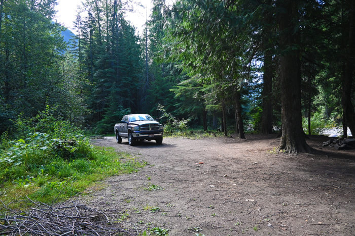 Second excellent campsite for RVs and 5-th wheels on Lightning Creek Road, ID.