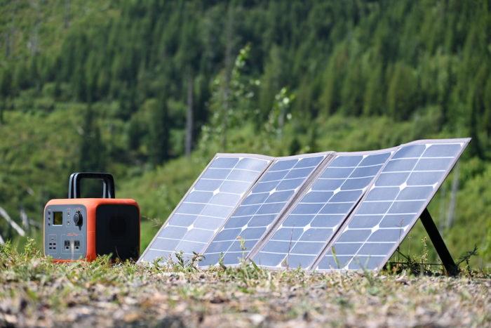 Solar panel recharging the Bluetti AC50 power station