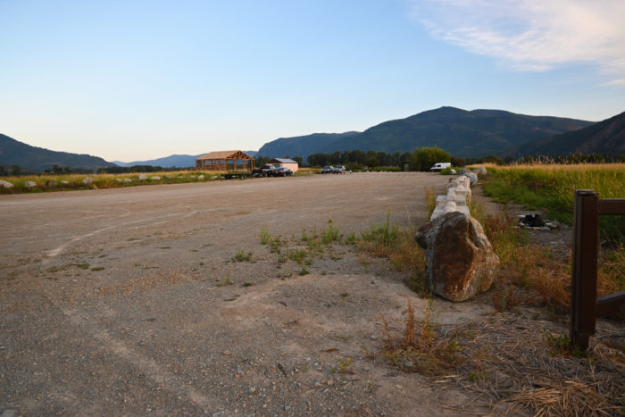 The parking lot you can camp in at Clark Fork Drift Yard in Idaho.