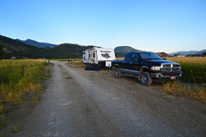 Our campsite at Clark Fork Drift Yard in Idaho.