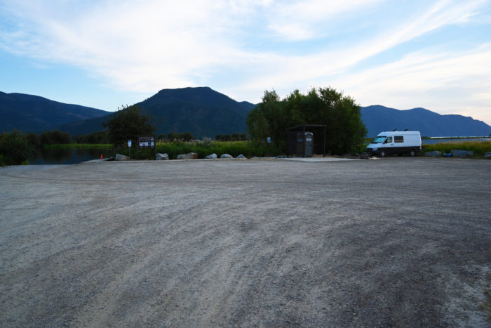 Boat ramp and small campsite at the Clark Fork Drift Yard in Idaho.