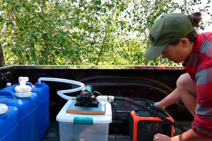 Using a power station with an RV water pump.