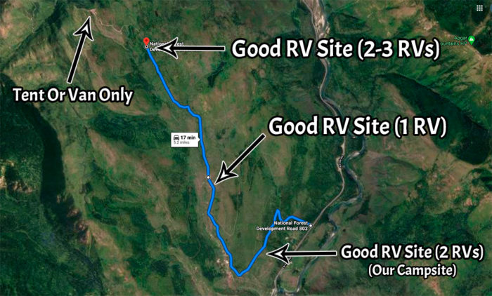 Google Maps view of the 3 good RV campsites on Mcginnis Creek Road.