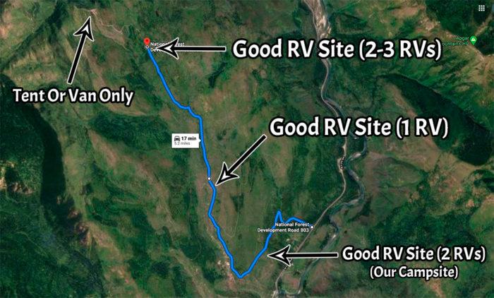 Google Maps view of the 3 good RV campsites on Mcginnis Creek Road Montana.