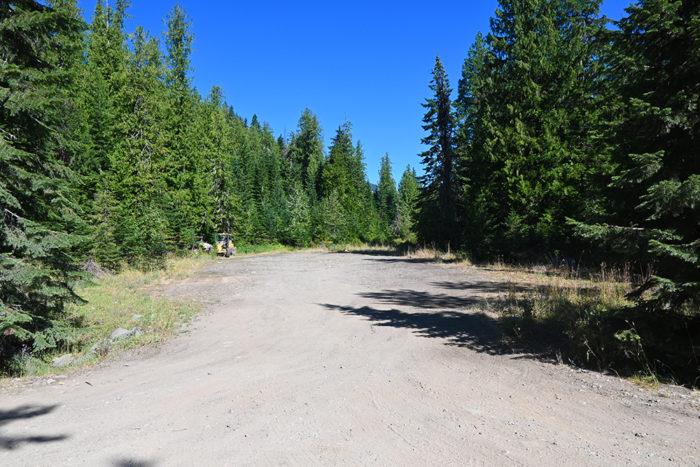 Large open camping area across the 3rd bridge on Lightning Creek Road, ID.