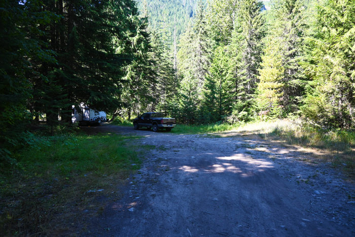 Our travel trailer friendly campsite on Lightning Creed Road, ID.