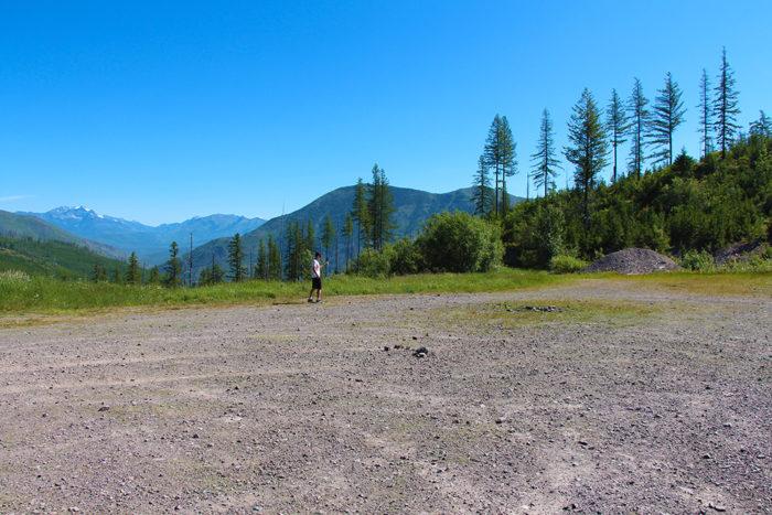 Large camping area 5 miles up McGinnis Creek Road Montana.