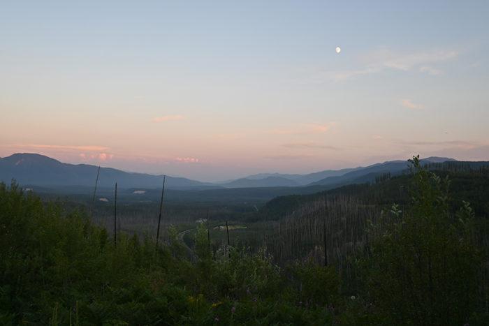 Evening view from Mcginnis Creek Montana near Glacier National Park.