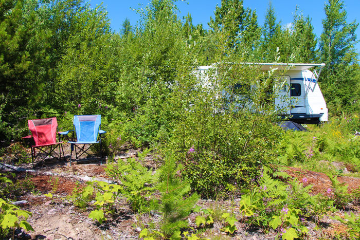 Small RV campsite on McGinnis Creek Road.