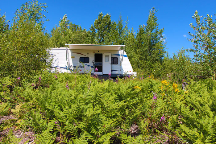 Our free campsite on McGinnis Creek Road near Glacier National Park.