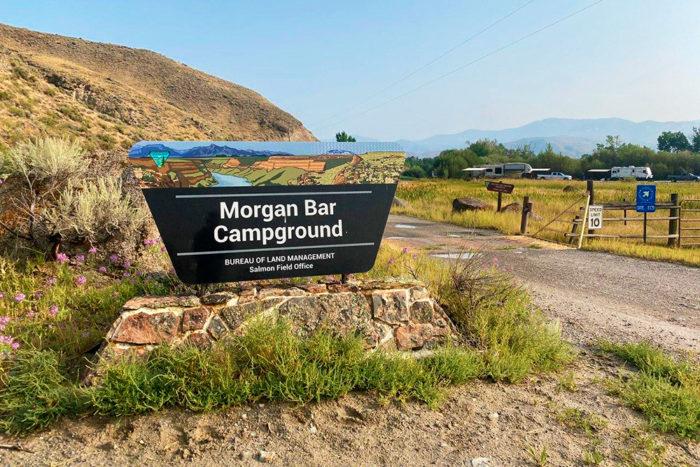 Morgan Bar Campground entrance sign near Salmon Idaho