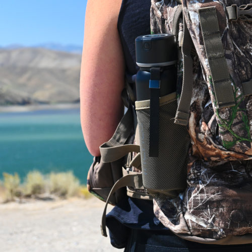 The Maxoak iHeals fits perfectly in the side pocket of a backpack.