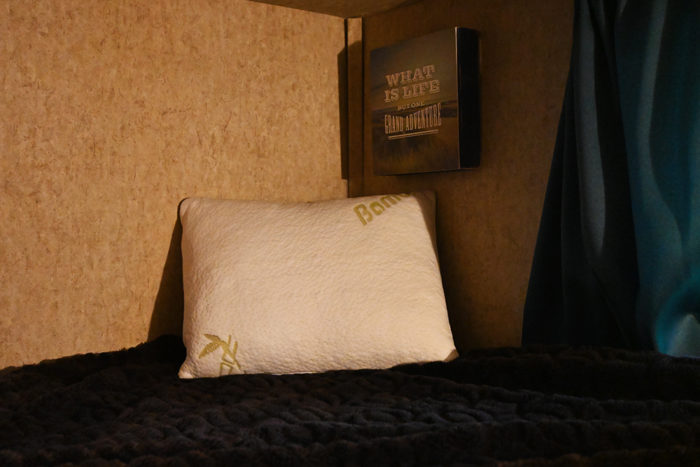 Outbright memory foam pillow in the bunk of our camper.