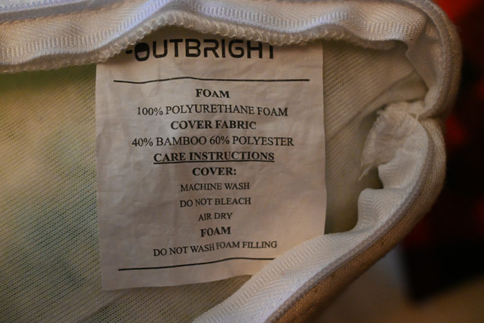 Label on the Outbright Memory Foam camping pillow.