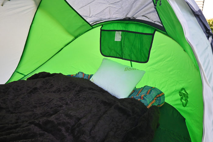 The Outbright bamboo memory foam pillow in our 2 person tent.