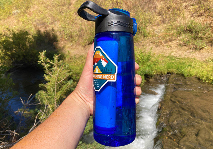 The Simpure water filter bottle is made with thick durable plastic and is the perfect size to carry around.