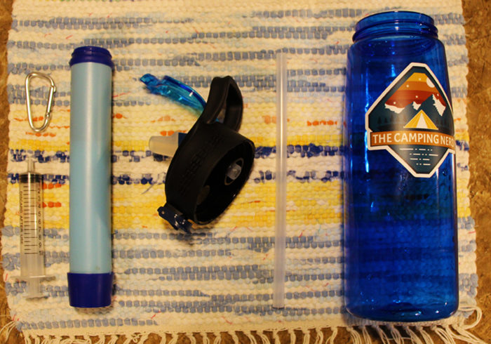 Note: The Camping Nerd Sticker is not included with the Simpure Water Filter Bottle.