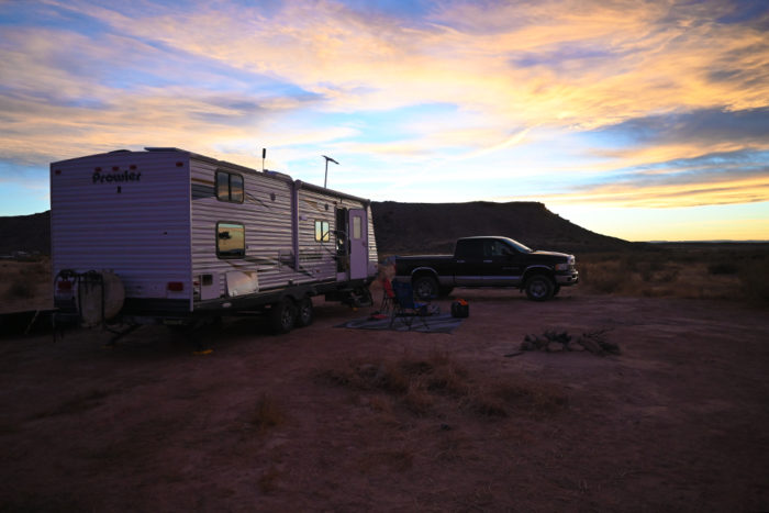 Our free campsite at BLM 143 Dinosaur Tracks near Arches National Park.