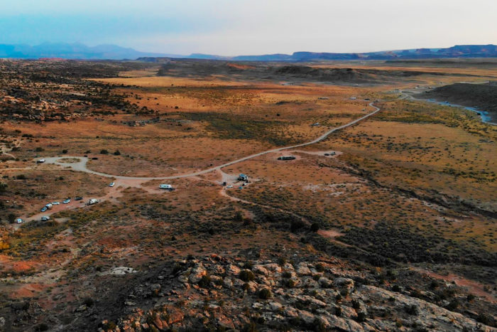 Main free BLM camping area at Dinosaur Tracks near Arches National Park.