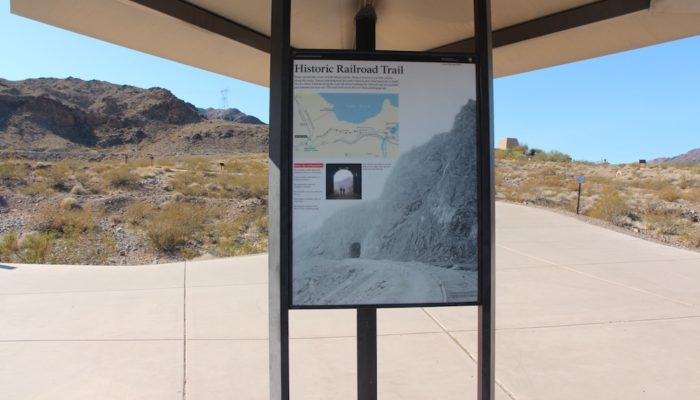Information sign at the start of the Historic Railroad Trail that leads to Hoover Dam in Nevada.