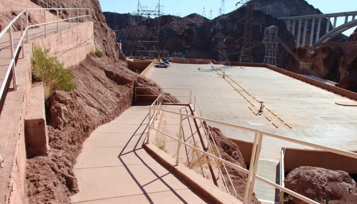 Ramp that leads from the Historic Railroad Trail to the parking garage at Hoover Dam Nevada.