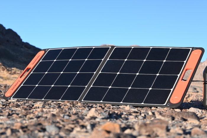 Jackery SolarSaga 100W solar panel on the ground