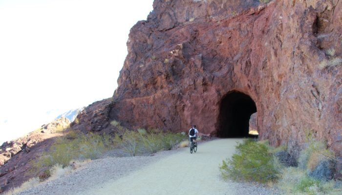 Tunnels that were part of the railroad on the Historic Railroad Trail near Hoover Dam Nevada.