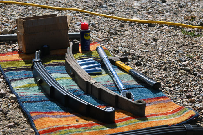 Parts you will need to replace the leaf springs on a trailer.