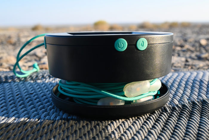 Luci Solar String Lights by MPowerd base when opened to reveal the storage compartment.