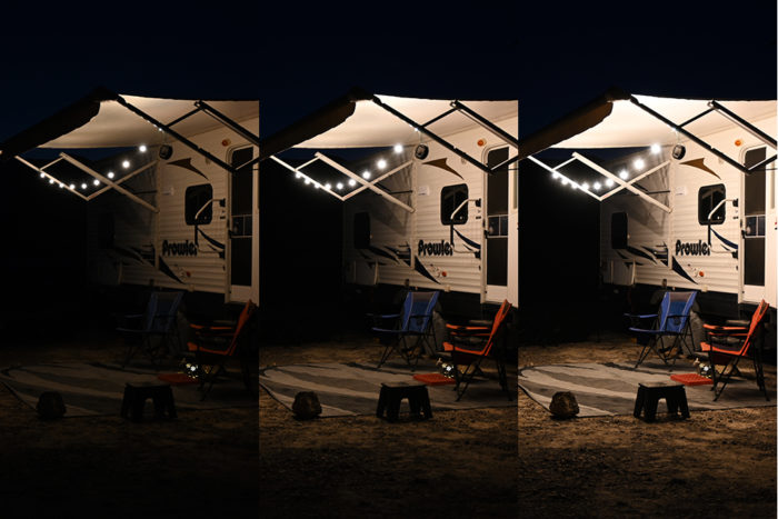Side by side comparison of the 3 light setting of the Luci Solar String Lights by MPowerd.