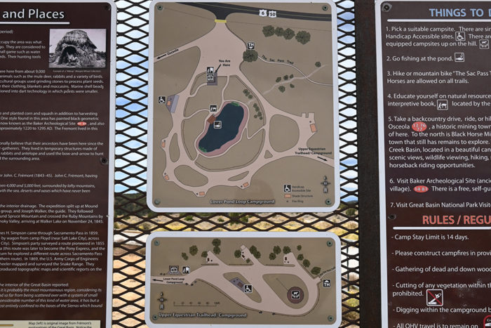 The first and second camping loops in the Sacramento Pass Free Campground near Great Basin National Park.