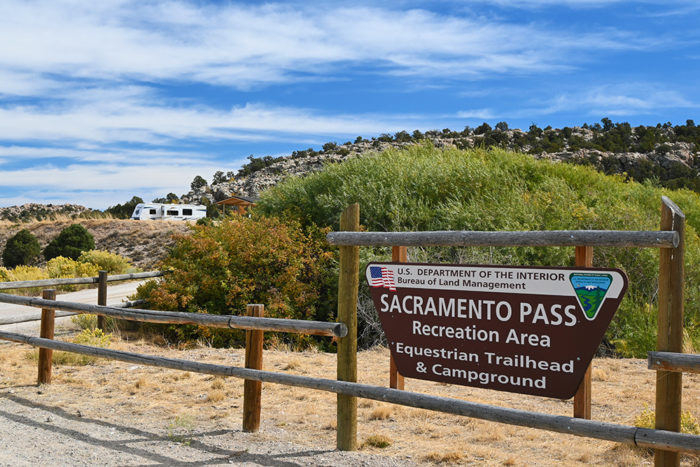 Entrance sign at Sacramento Pass Recreation Area Equestrian Trailhead & Free Campground
