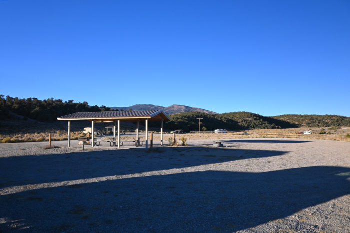 Large group campsite at the first part of the Sacramento Pass Recreation Area Campground in Nevada.
